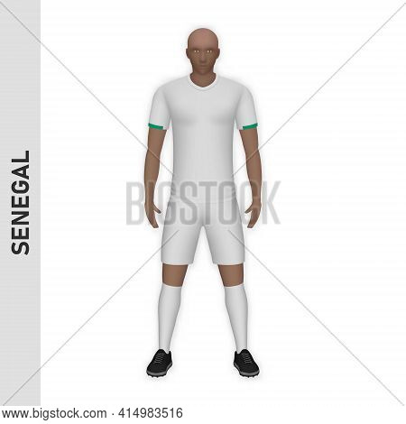 3d Realistic Soccer Player Mockup. Senegal Football Team Kit Template Design