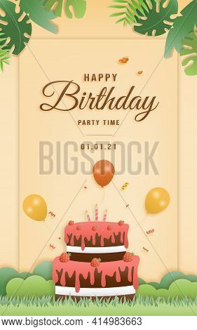 Cartoon Happy Birthday Card With Cake. Greeting Cards With Cute Safari Or Jungle Animals Party In Th