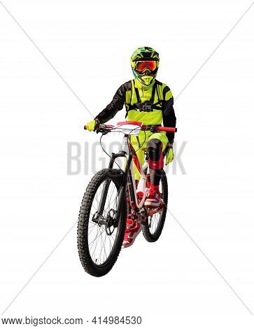 Front View Of Man On Downhill Mountain Bike Isolated On White