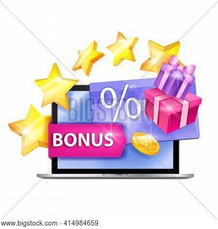 Loyalty Program, Customer Reward Gift Card Vector Illustration, Laptop Screen, Stars, Golden Coin, B