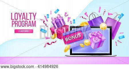 Loyalty Program, Customer Gift Card, Internet Reward Vector Landing Page, Laptop, Present Box, Confe
