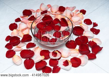 A Lot Of Bright Rose Petals In Cold Water.a Beautiful Wine Glass,water Droplets On Misted Glass.a Si