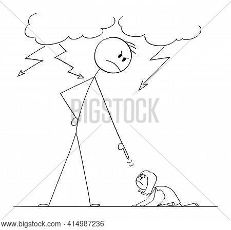 Man Oppressing Woman Using His Power,  Cartoon Stick Figure Illustration
