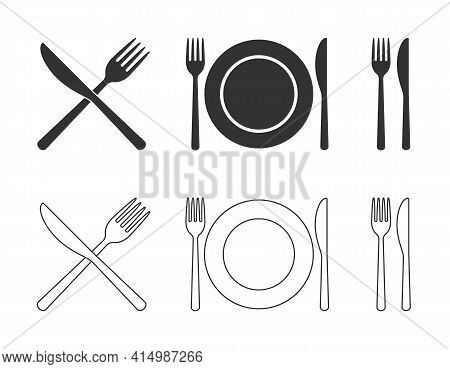Fork Knife And Plate Icon Set. Flat Shape Restaurant Or Cafe Place Logo Sign Collection. Utensil Cro