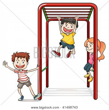 Illustration of kids playing with a monkey bars on a white background
