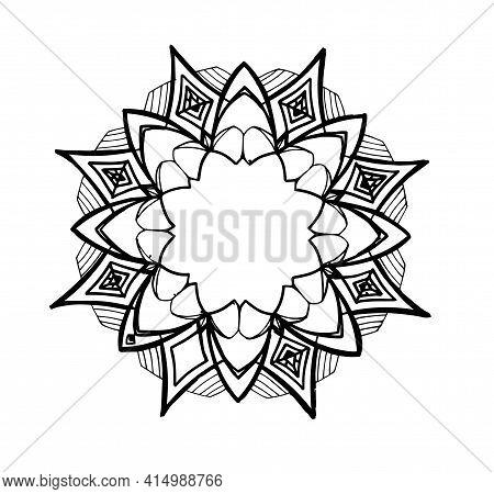 Vintage Sketch Design Template With Sketch Mandala Frame On White Background For Print Design. Abstr