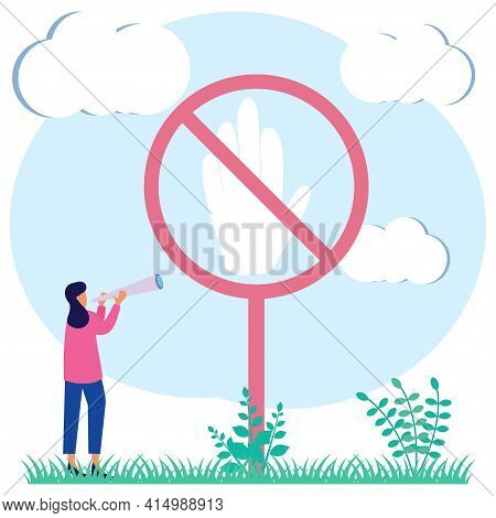 Vector Illustration Of A Stop Sign. Symbolic, Hazard Or Safety Warning Information. Restricted Entry