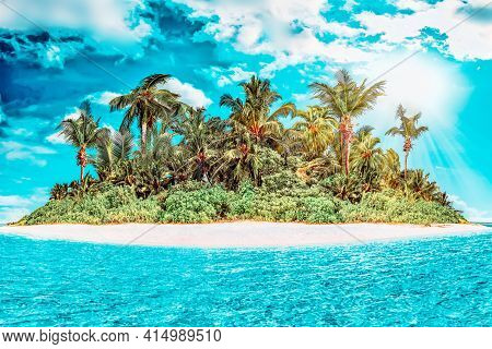 Whole Tropical Island Within Atoll In Tropical Ocean On A Summer Day. Uninhabited And Wild Subtropic