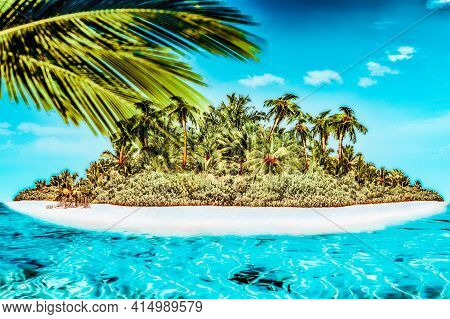 Whole Tropical Island Within Atoll In Tropical Ocean.