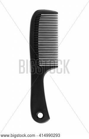Black Comb On A White Background. Cutting, Haircutting, Open, Sharp, Spa, Close, Combing