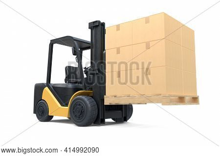 The Forklift Truck Is Lifting A Pallet With Cardboard Boxes On White Background. 3d Illustration