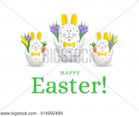 Happy Easter Greeting Card. Figurines Of Three White Rabbits Made Of Eggs With Crocus Flower Bouquet