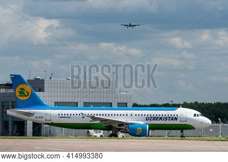 July 2, 2019, Moscow, Russia. Airplane Airbus A320-200  Uzbekistan Airways At Vnukovo Airport In Mos