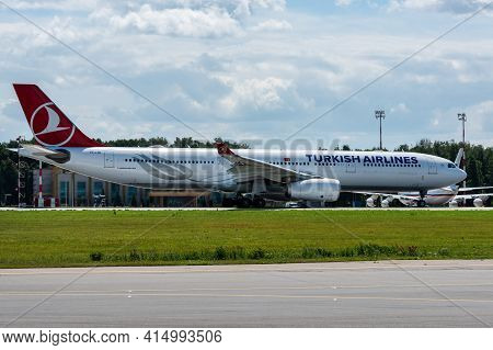 July 2, 2019, Moscow, Russia. Airplane Airbus A330-300 Turkish Airlines At Vnukovo Airport In Moscow