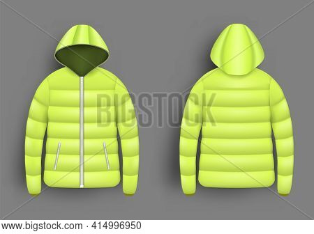Yellow Puffer Jacket Mockup Set, Vector Isolated Illustration. Realistic Modern Hooded Down Jacket,