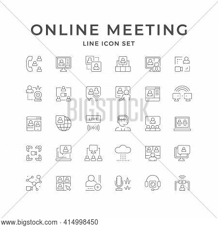 Set Line Icons Of Online Meeting Isolated On White