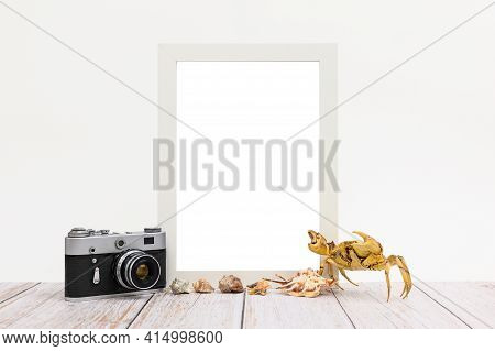 Vertical White Photo Frame Next To Seashells, Crab And Old Photo Camera. Blank Empty Space In The Fr