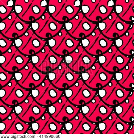 Modern Linear Black Template On Red Backdrop. Fabric Print Texture. Seamless Pattern Black Backgroun
