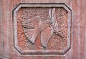 Dove with branch (Dove of Peace), relief of stone poster