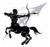 Illustration of Sagittarius the archer or centaur zodiac horoscope astrology sign poster