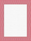 Red and white gingham check frame, polka dot background,  copy space, rectangle, vertical. EPS8 compatible. poster