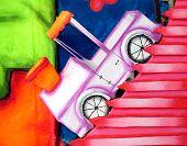 uphill carnival car shape poster