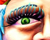 large carnival float. focus on the left eye of the face poster