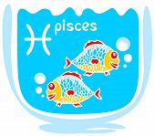 Happy cartoon Pisces on a blue background. Zodiac star sign. poster