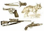 """a hand drawn illustrations """"poor wolf"""" - collection of guns poster"""