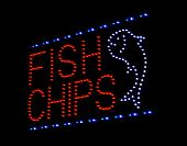 fish and chips LED sign at take away or fast food restaurant poster