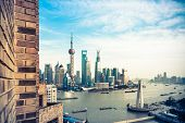 Oriental Pearl Tower and Shanghai World Financial Center (SWFC) & Jin Mao Tower with shanghai skyline. poster