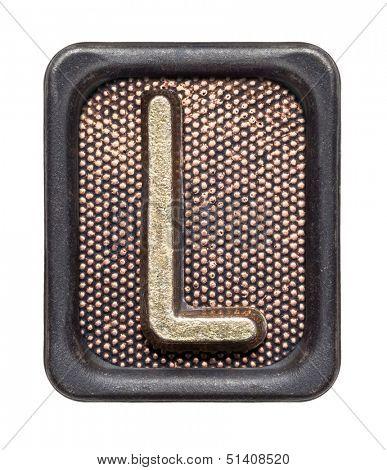 Metal button alphabet letter L