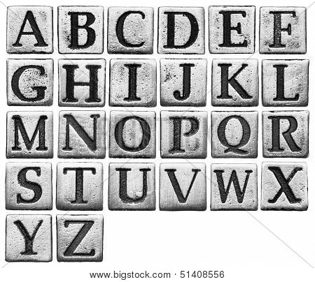 Metal alphabet letters isolated on white