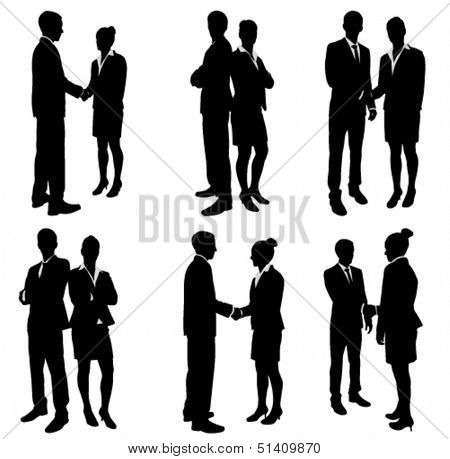 business people handshake silhouettes collection