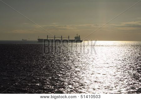 transportation, containers cargo ship out of the harbor poster
