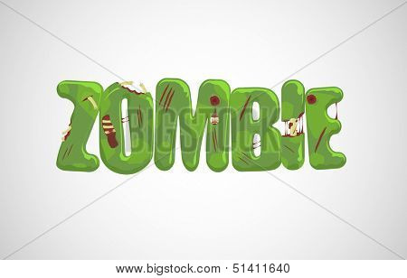 Vector zombie text over light gray background  poster