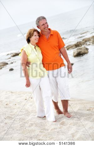 Beautiful Mature Couple On The Beach