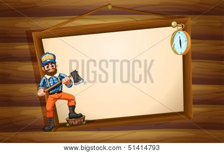 Illustration of a woodman in front of the big empty signboard