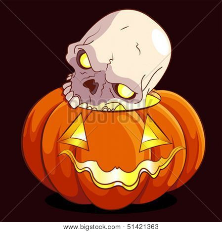 Halloween pumpkin and scull