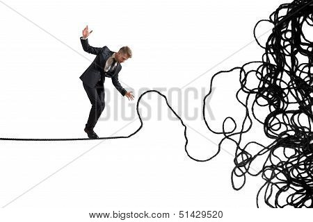 Concept of problem and difficulty of a businessman poster