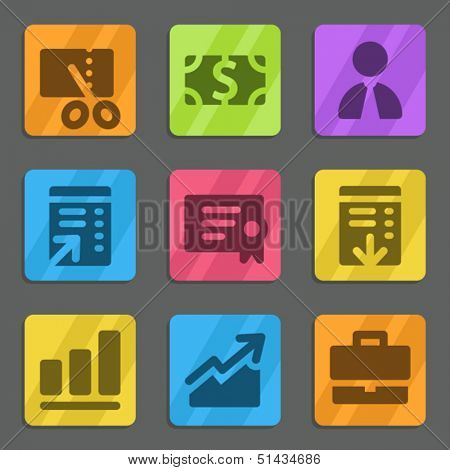 Finance web icons set 1 color flat series