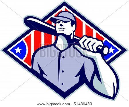 Baseball Batter Hitter Bat Shoulder Retro