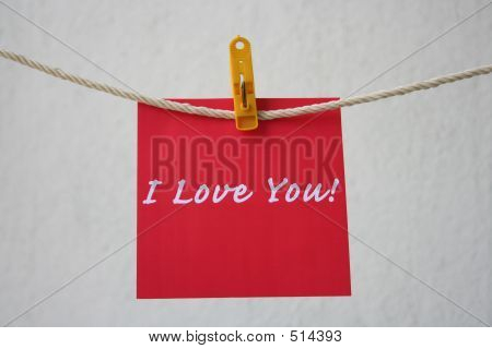Love Note Hanging On The String