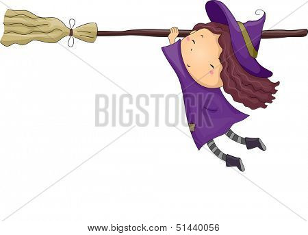 Halloween Illustration of a Little Girl Dressed as a Witch Clinging Onto a Broomstick
