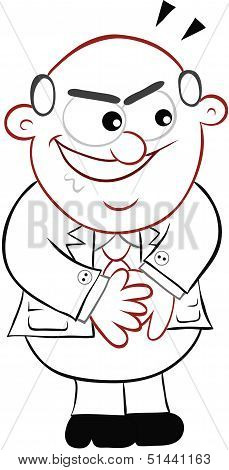 Business Cartoon -  Boss Man Looking Sneaky