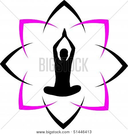 Yoga fitness with abstract lotus