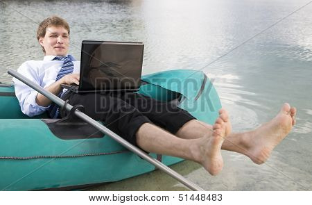 Dressed Man Lay Over Boat