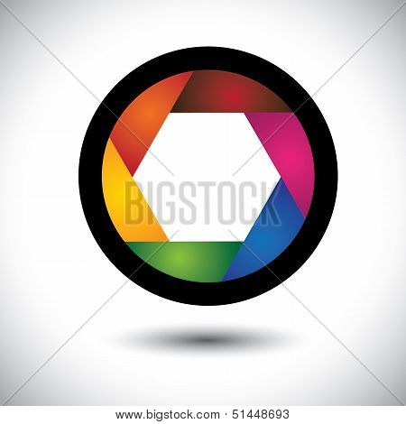 Abstract Colorful Camera Shutter ( Aperture ) With Blades - Vector Background