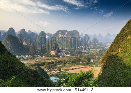 Chinese Mountain Landscape In Guilin Yangshuo