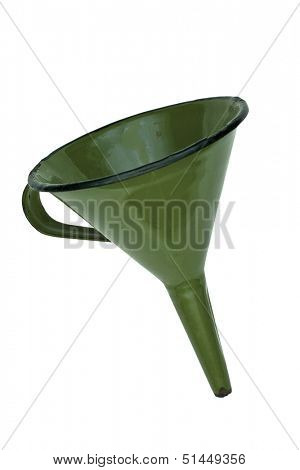 vintage funnel isolated over white with clipping path